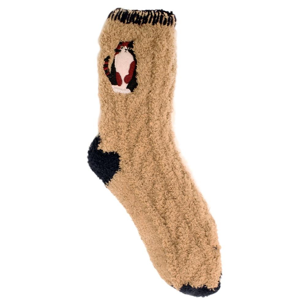 【U】MigoBear - 俏皮動物室內防滑襪(四色可選) - 花貓卡其