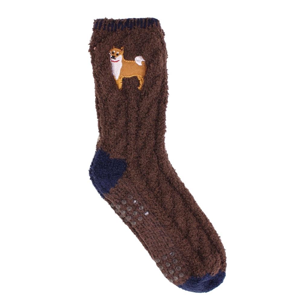 【U】MigoBear - 俏皮動物室內防滑襪(四色可選) - 柴犬棕