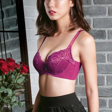 【華歌爾】摩奇X 魔翼胸罩A-C罩杯內衣36/80A紫棠紅
