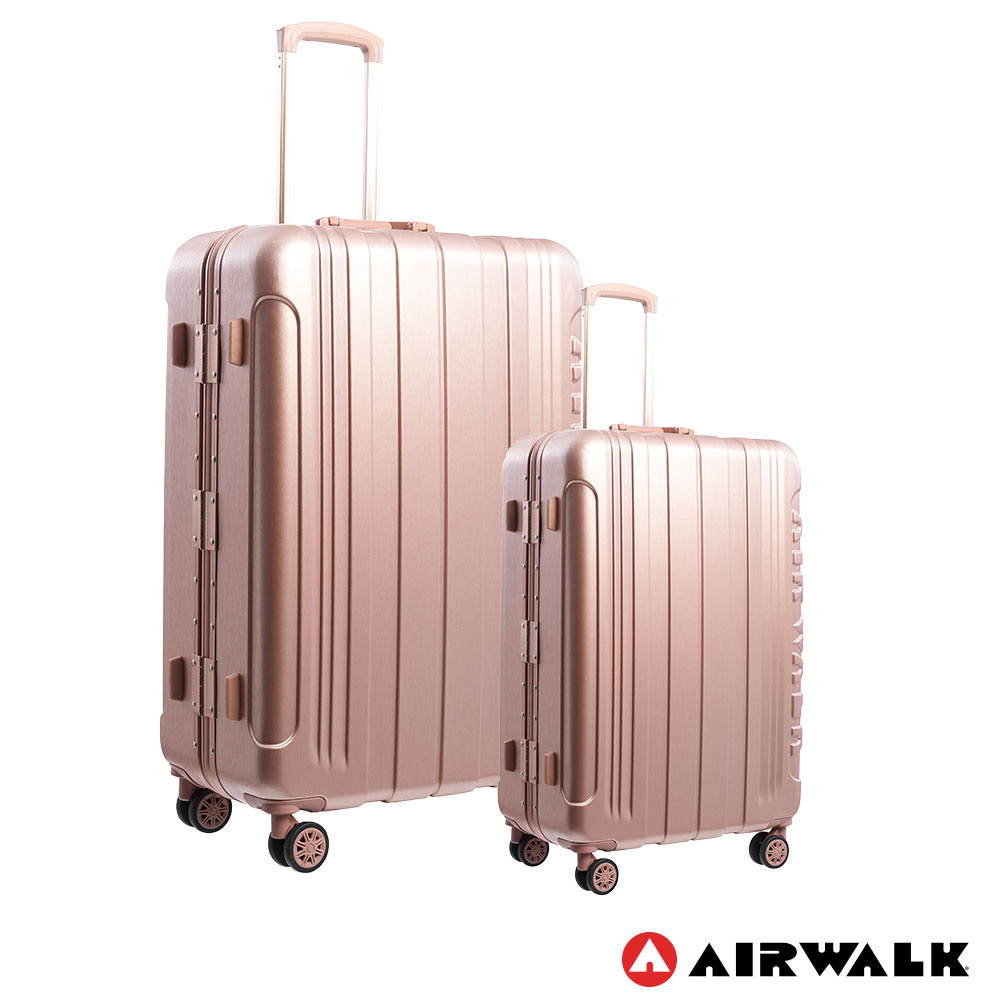 AIRWALK LUGGAGE - 金屬森林 木絲鋁框復古壓扣行李箱 20+28吋ABS+PC拉鍊行李箱兩件組 -玫銅金