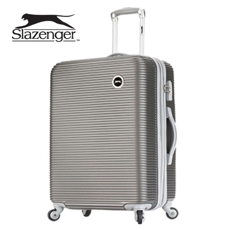 【Slazenger 史萊辛格】24吋 珠光橫條紋 行李箱/拉桿箱/登機箱 (紳士灰)24吋