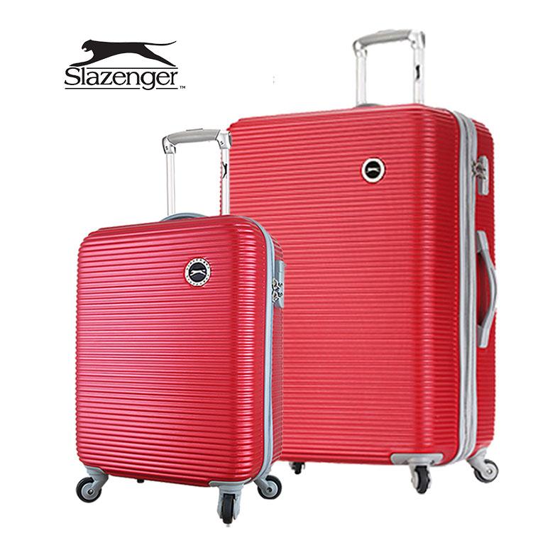 【Slazenger 史萊辛格】20+28吋 珠光橫條紋 行李箱/拉桿箱/登機箱 (玫瑰紅)其他