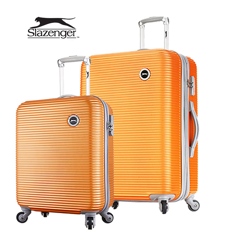 【Slazenger 史萊辛格】20+28吋 珠光橫條紋 行李箱/拉桿箱/登機箱 (陽光橘)其他