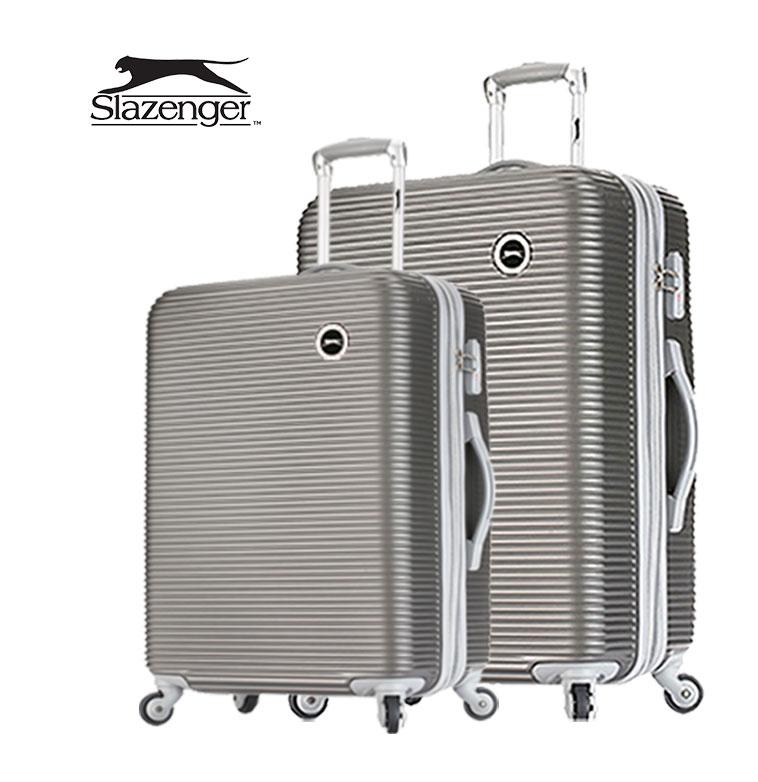【Slazenger 史萊辛格】2ˋ4+28吋 珠光橫條紋 行李箱/拉桿箱/登機箱 (紳士灰)其他