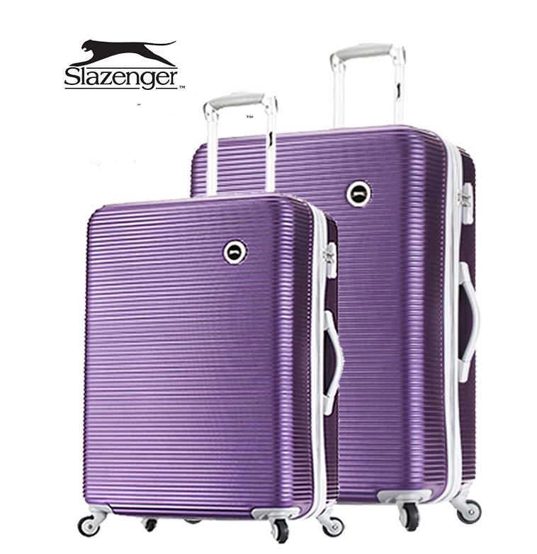 【Slazenger 史萊辛格】24+28吋 珠光橫條紋 行李箱/拉桿箱/登機箱 (薔薇紫)其他