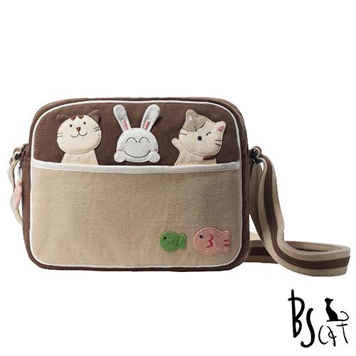 ABS貝斯貓 可愛貓咪拼布 肩背包 斜背包 88-194咖啡