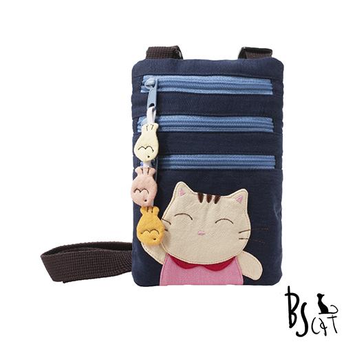 ABS貝斯貓 可愛貓咪拼布 郊遊隨身包 肩/斜背包 88-195藍色