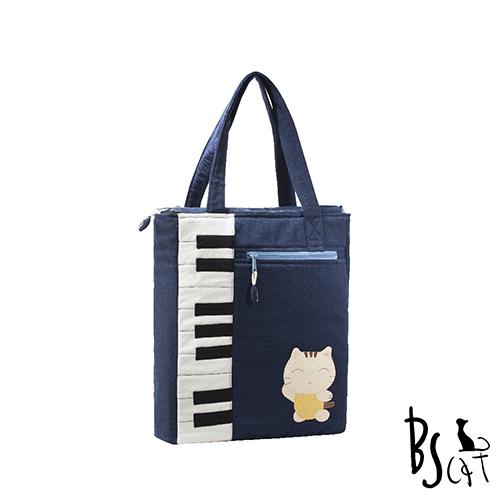 ABS貝斯貓 可愛貓咪拼布 A4可入肩背包 提袋 88-200藍色