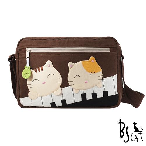 ABS貝斯貓 可愛貓咪拼布 側背包 肩背包 88-201咖啡