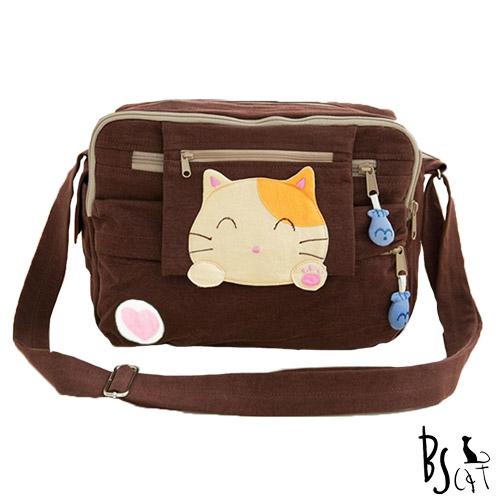 ABS貝斯貓 可愛貓咪拼布 肩背包 斜背包 88-192咖啡
