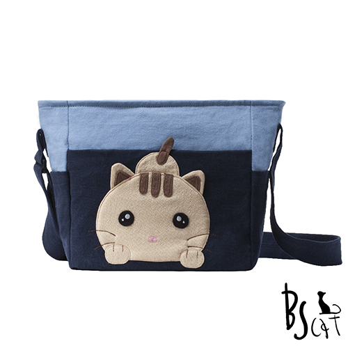 ABS貝斯貓 可愛貓咪拼布 肩背包 斜揹包 88-206藍色
