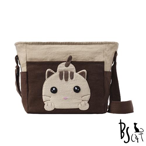 ABS貝斯貓 可愛貓咪拼布 肩背包 斜揹包 88-206咖啡