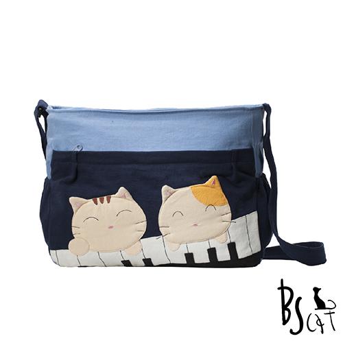 ABS貝斯貓 可愛貓咪拼布 肩背包 斜揹包 88-213藍色