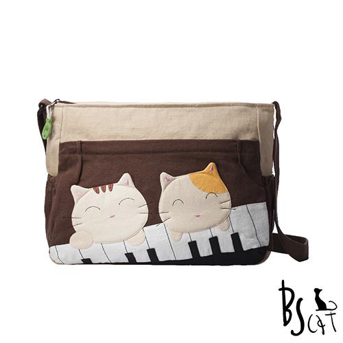 ABS貝斯貓 可愛貓咪拼布 肩背包 斜揹包 88-213咖啡