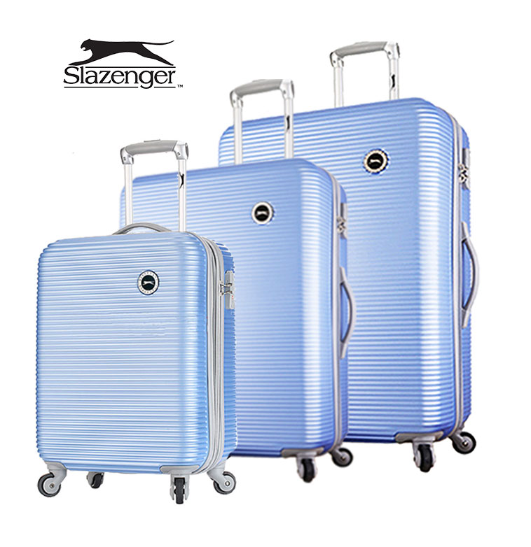 【Slazenger 史萊辛格】20+24+28吋 珠光橫條紋 行李箱/拉桿箱/登機箱 (紐約藍)其他