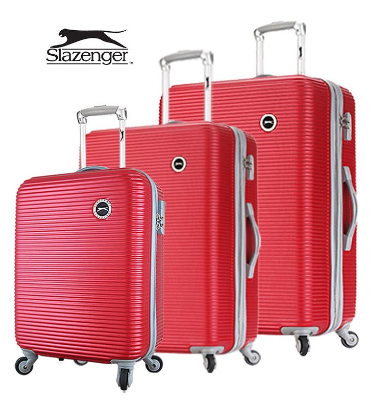 【Slazenger 史萊辛格】20+24+28吋 珠光橫條紋 行李箱/拉桿箱/登機箱 (玫瑰紅)其他