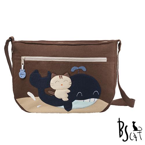 ABS貝斯貓 可愛貓咪拼布 肩背包 斜揹包 88-214咖啡