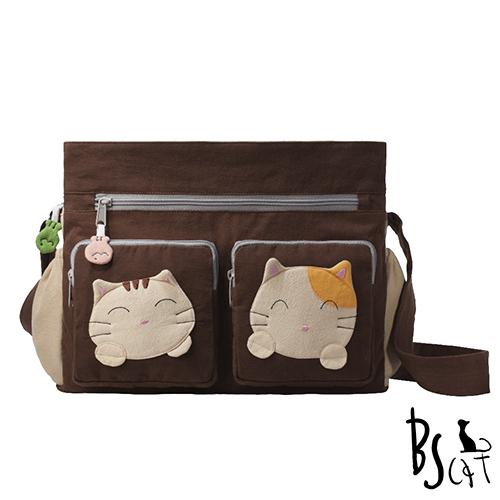 ABS貝斯貓 可愛貓咪拼布 肩背包 斜揹包 88-217咖啡