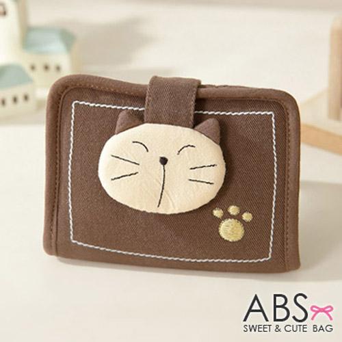 ABS貝斯貓 可愛拼布貓頭 萬用證件夾 88~012咖啡