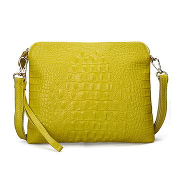 【L.Elegant】真皮時尚鱷魚紋單肩斜跨貝殼包(共五色)檸檬黃