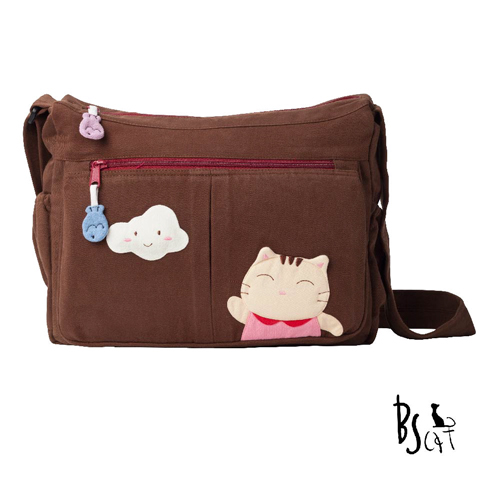 ABS貝斯貓 可愛貓咪拼布 肩背包 斜揹包 88-210咖啡
