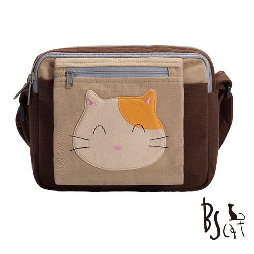 ABS貝斯貓 可愛貓咪拼布 肩背包 斜背包 88-193咖啡