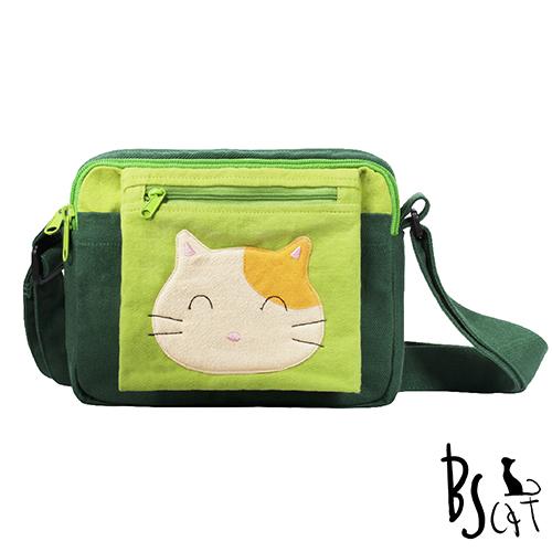 ABS貝斯貓 可愛貓咪拼布 肩背包 斜背包 88-193深綠