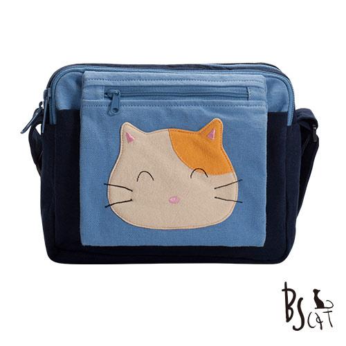 ABS貝斯貓 可愛貓咪拼布 肩背包 斜背包 88-193藍