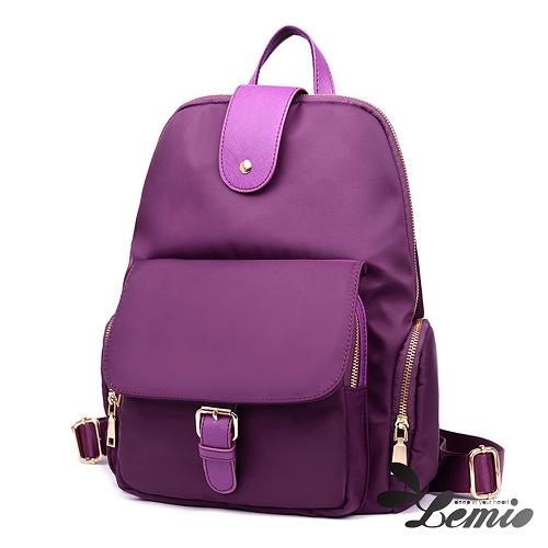 【Lemio】韓版純色牛津布防潑水後背包(艷麗紫)