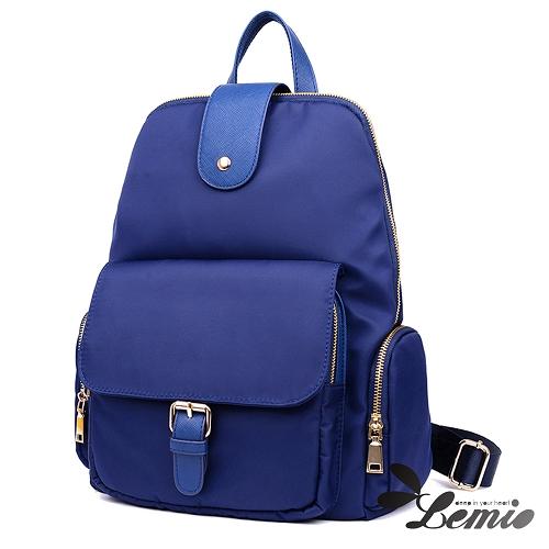 【Lemio】韓版純色牛津布防潑水後背包(湖水藍)