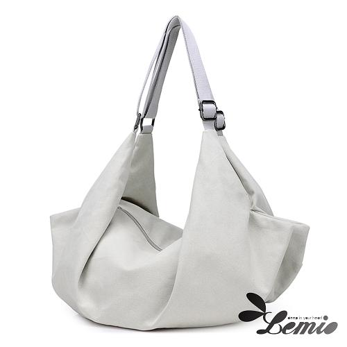 【Lemio】韓版潮流雙肩側背雙設計水餃包(學院白)