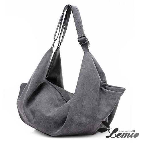 【Lemio】韓版潮流雙肩側背雙設計水餃包(時尚灰)