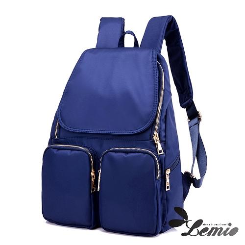 【Lemio】韓版牛津布純色設計雙口袋後背包(天空藍)