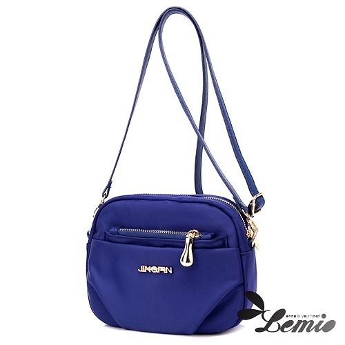 【Lemio】韓版牛津布純色設計小圓包(天空藍)