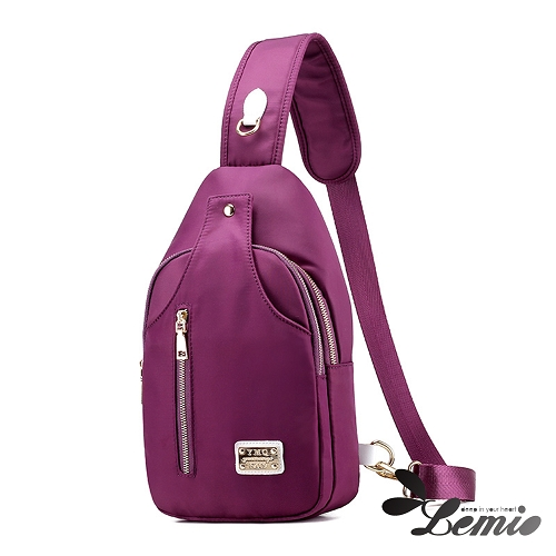 【Lemio】韓版牛津布純色設計休閒胸背包(魅力紫)