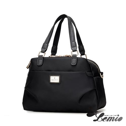 【Lemio】韓版牛津布純色設計手提斜跨兩用肩背托特包(時尚黑)