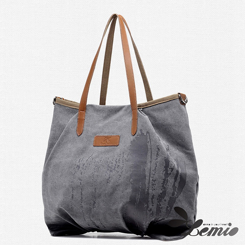【Lemio】韓版機能款通勤帆布肩背包(率性灰)