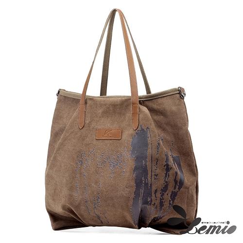 【Lemio】韓版機能款通勤帆布肩背包(漸層棕)