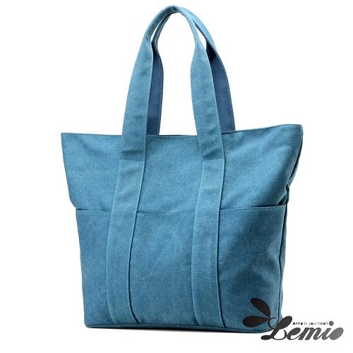【Lemio】大容量 高收納 韓版托特包(天空藍)