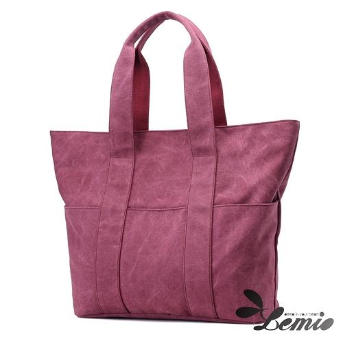 【Lemio】大容量 高收納 韓版托特包(漾紫紅)