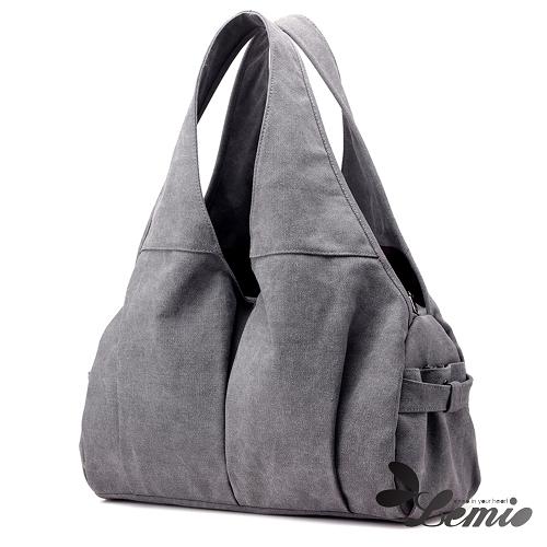 【Lemio】曲線肩背休閒包(時尚灰)