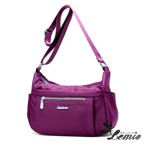 【Lemio】防潑水 牛津布 斜肩隨身包(魅力紫)