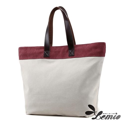 【Lemio】百搭帆布 雙色托特包(魅力紫)