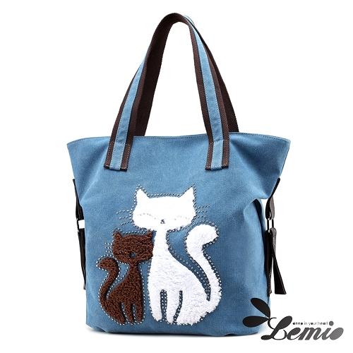 【Lemio】百搭帆布 雙色貓咪 托特隨身包(湖水藍)