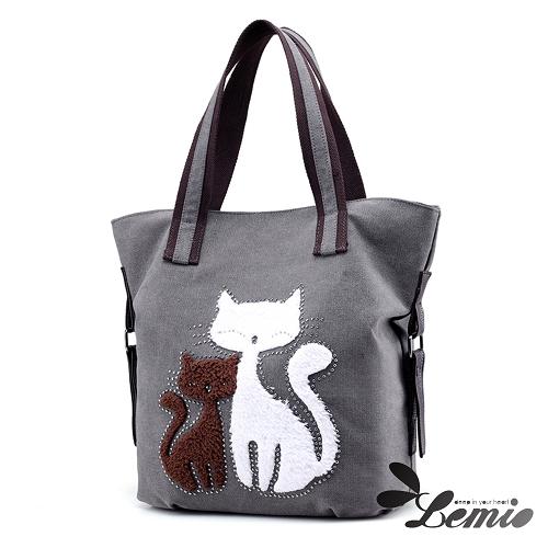 【Lemio】百搭帆布 雙色貓咪 托特隨身包(時尚灰)