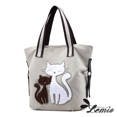 【Lemio】百搭帆布 雙色貓咪 托特隨身包(漸層棕)