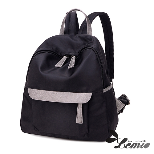 【Lemio】超輕量 防潑水牛津布 後背包(魅力黑)