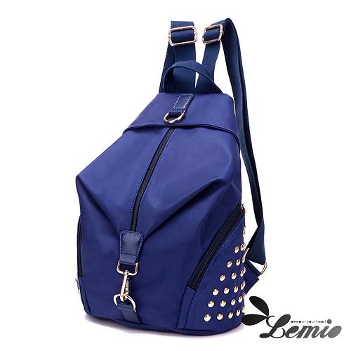 【Lemio】超輕量 防潑水牛津布 鉚釘後背包(湖水藍)