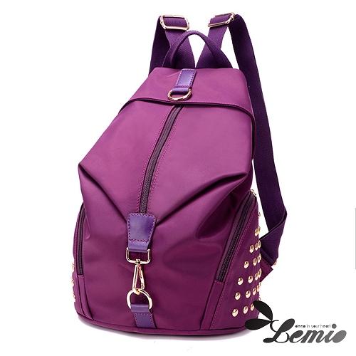 【Lemio】超輕量 防潑水牛津布 鉚釘後背包(紫羅蘭)