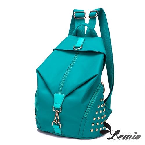 【Lemio】超輕量 防潑水牛津布 鉚釘後背包(水藍綠)